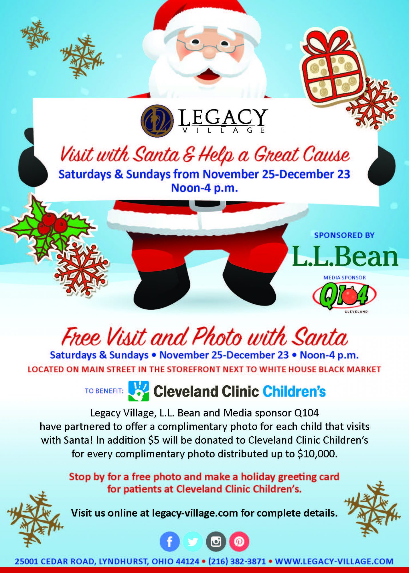 Visit with santa help a great cause weekend of november 25 26 legacy village ll bean and media sponsor q104 have partnered to offer a complimentary photo for each child that visits with santa kristyandbryce Image collections
